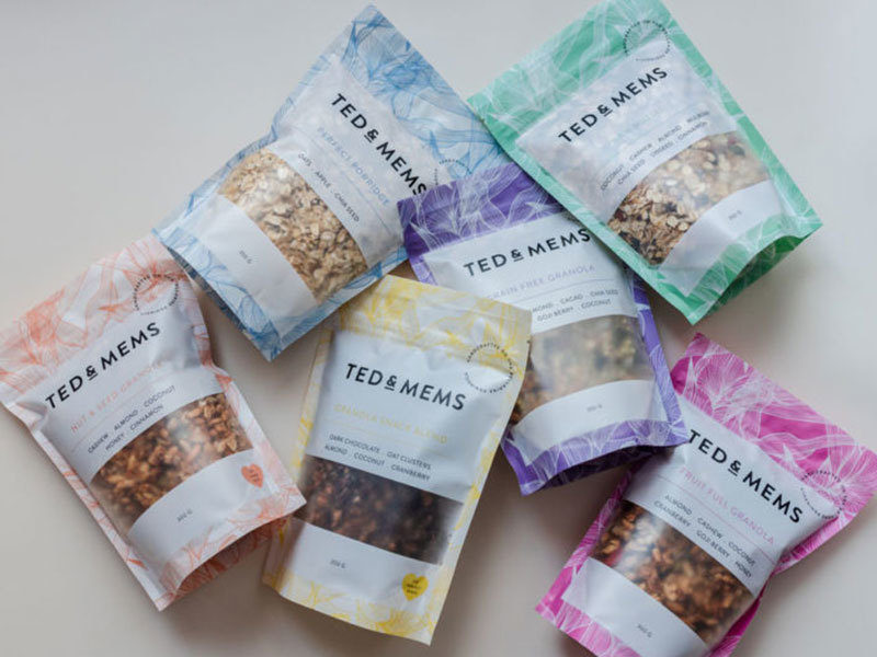 Brightly coloured flexible packaging stand up pouches for food