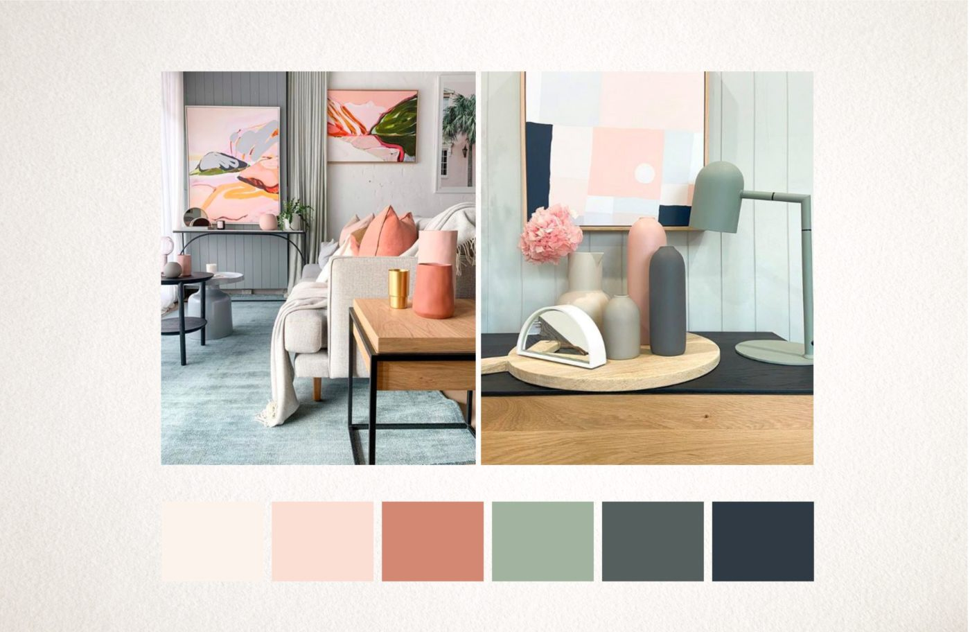 Mood board with earthy colours for brand Sweet Addiction