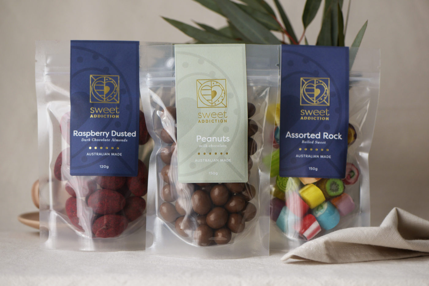 Sweet Addiction clear packaging with green and navy Read Labels & Packaging food labelling