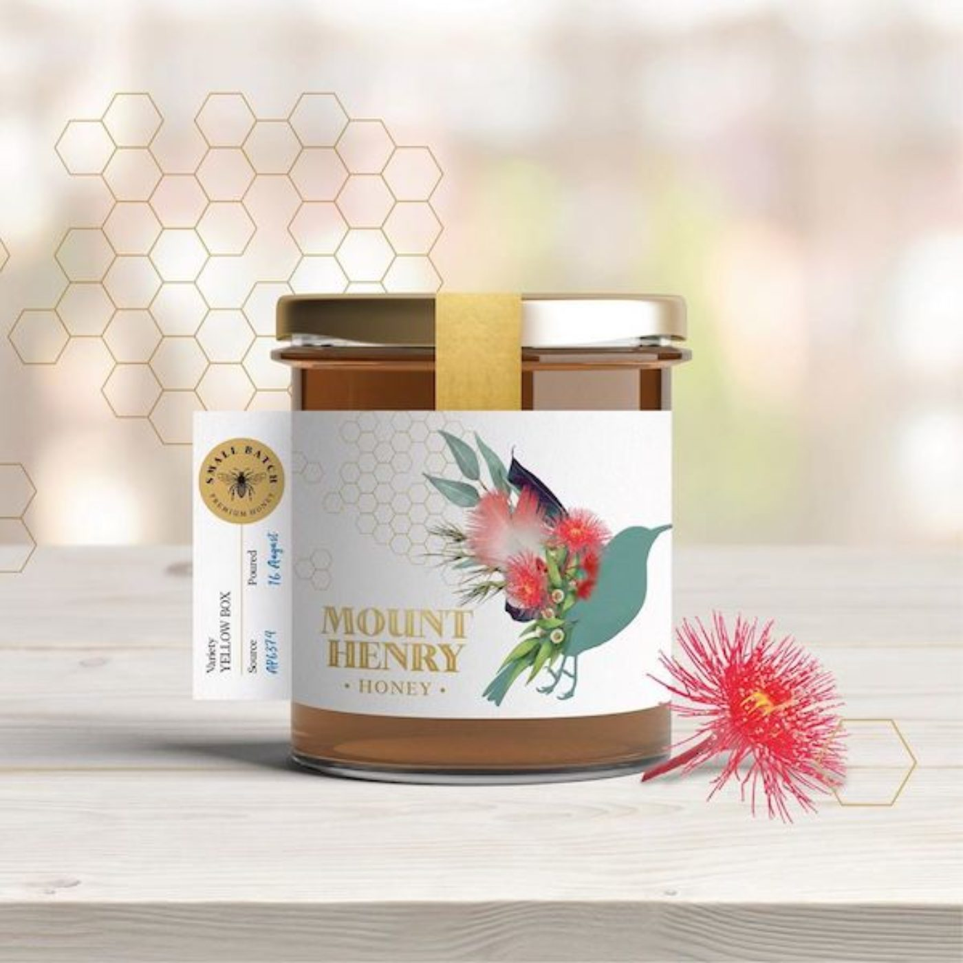 Custom food product labelling with gold foil